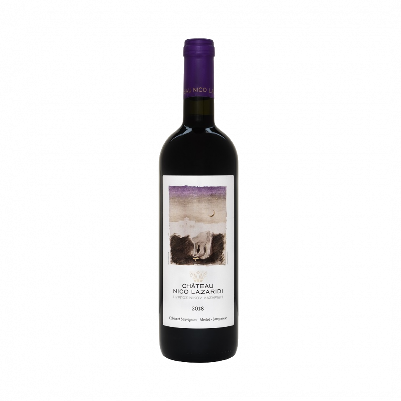 A bottle of Château Nico Lazaridi Red 2018