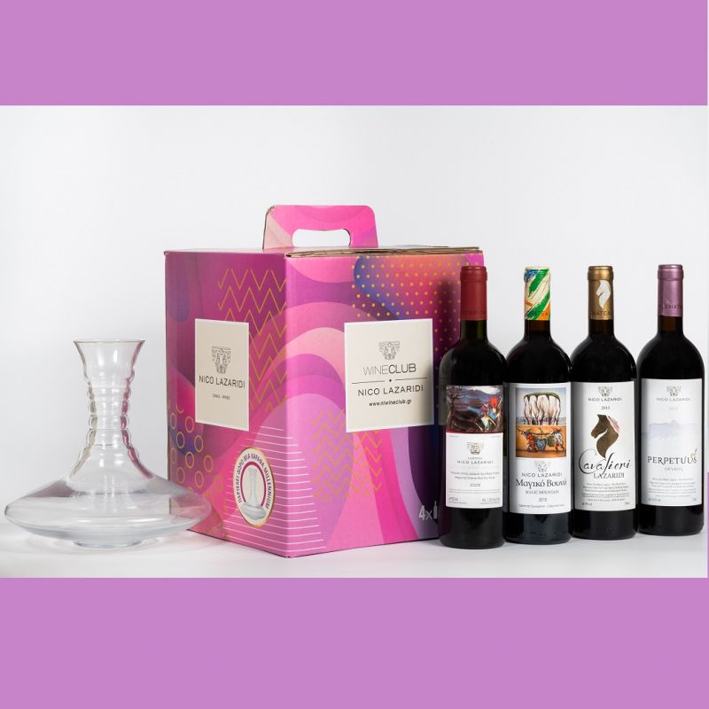Wine Box with 4 bottles of red old vintages wine Nico Lazaridi and a decanter