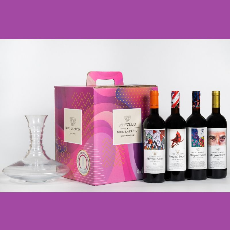 Wine Box with 4 bottles of Magic Mountain red old vintages and a decanter